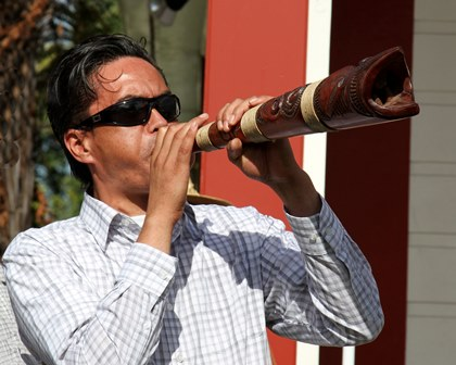 Georgie Jenkins, Chair, Marae Reserve Trust - George welcomes manuhiri onto Whakarongotai for the Waitangi Day Commemoration, February 2013