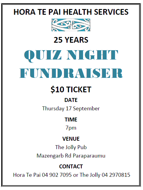 Hora Te Pai Quiz Night - Thurs 17th Sept 2015